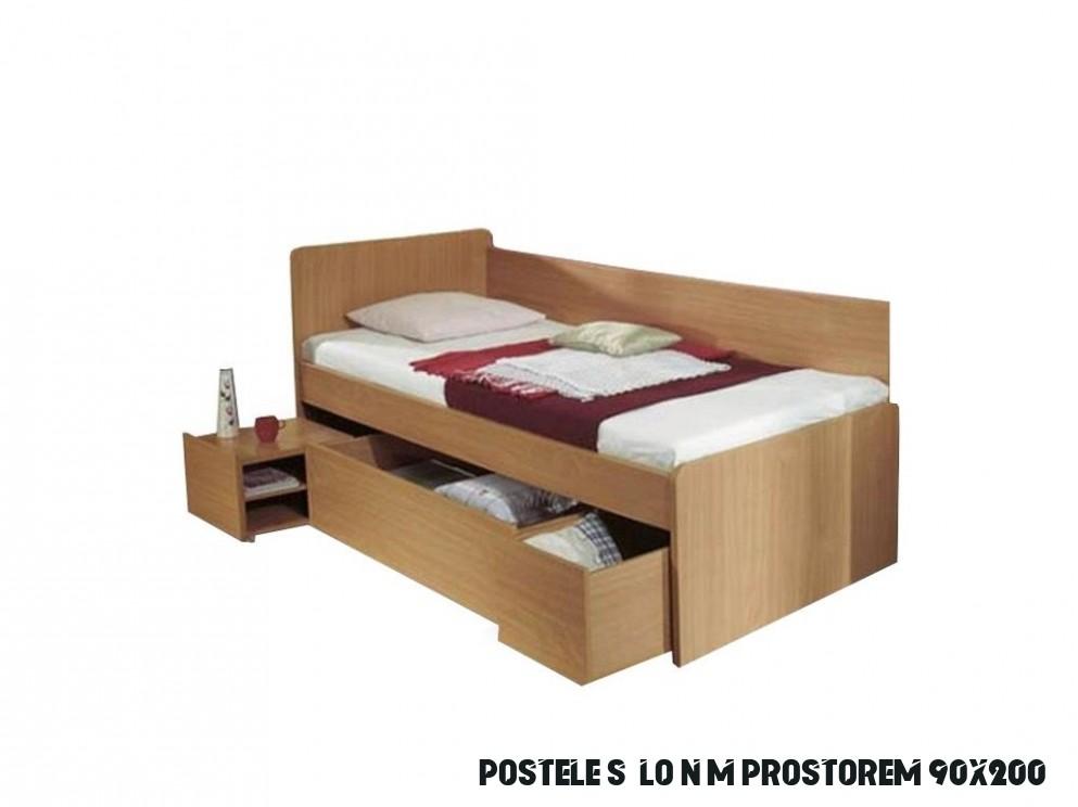 Postel s úložným prostorem, buk, 11x11, OTO - Möbler