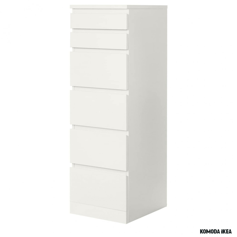 MALM Komoda, 11 szuflad - biały/lustro 11x11 cm