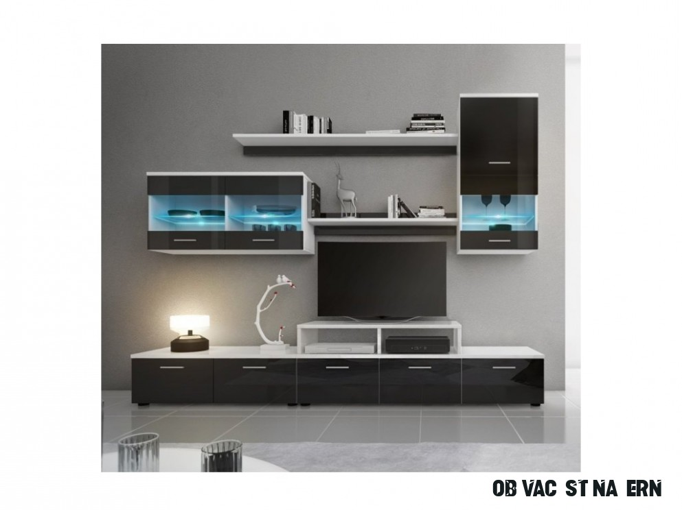 Obývací stěna černá v moderním designu a vysokém lesku LEO s LED osvětlením