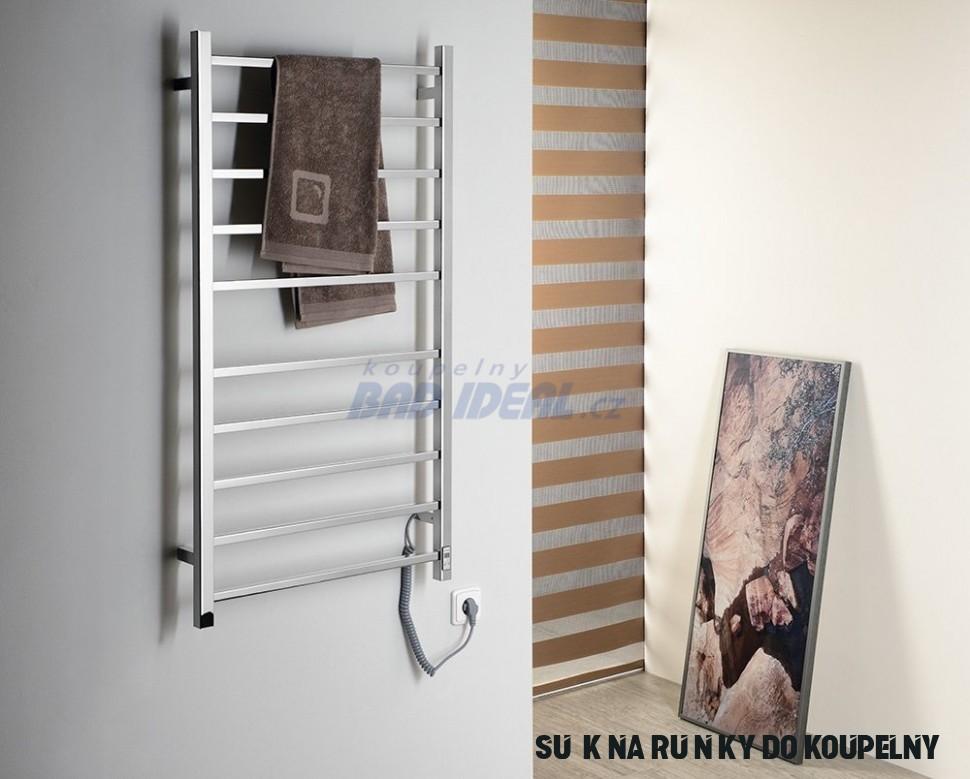 ESKINADO Elektrický sušák ručníků s časovačem, hranatý, 15x15 mm,15  W,nerez (ER15T)