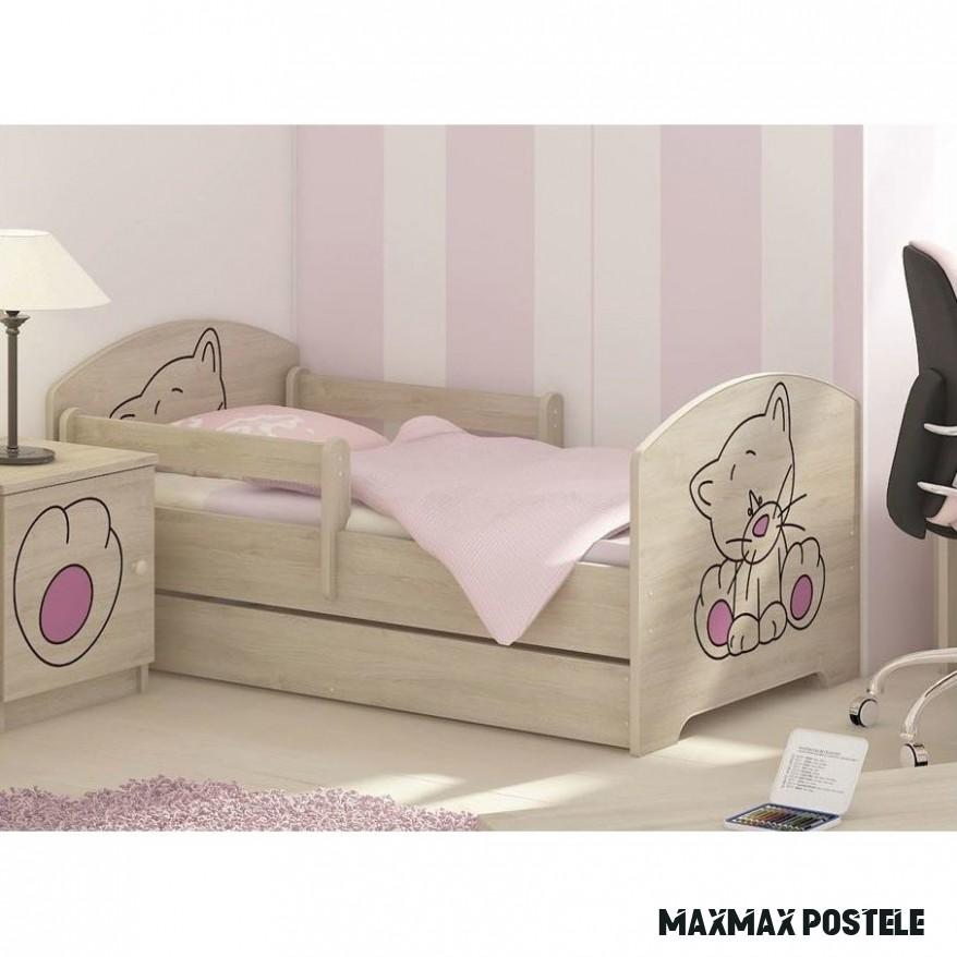 Dětská postel s výřezem KOČIČKA - růžová 18x18 cm + matrace