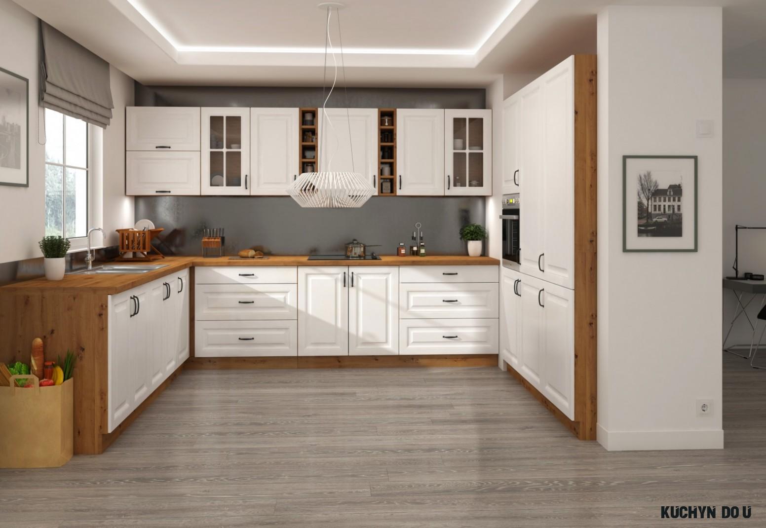 Bílá kuchyňská linka do U 9 x 9 x 9 cm PROVENCE bílá/dub artisan