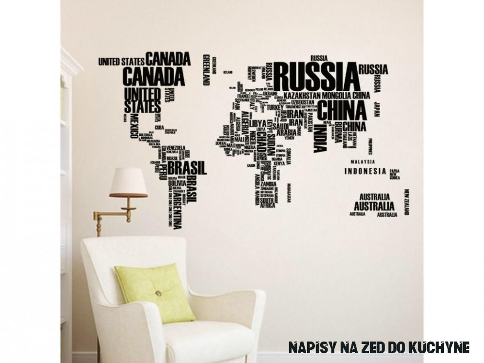 Samolepka na zeď Mapa světa nápisy 9x9cm