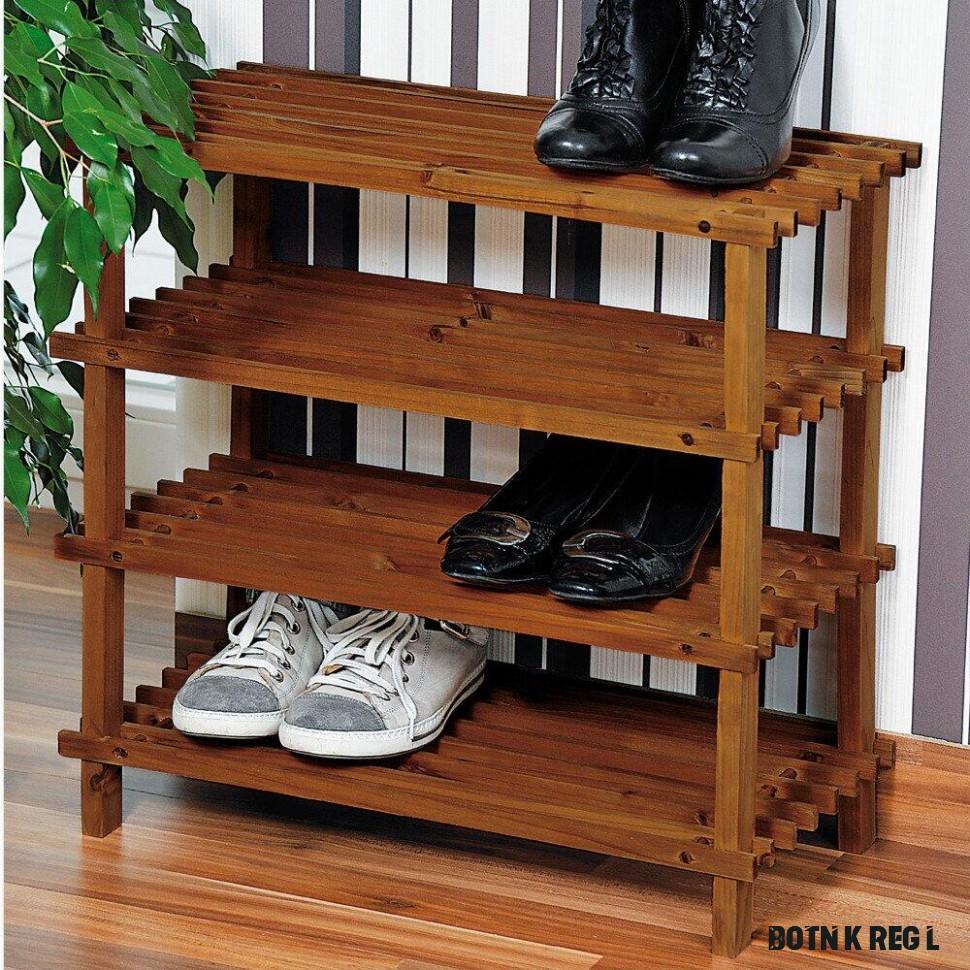 Vysoký botník z jedlového dřeva, objemný a skladný regál na boty se čtyřmi  policemi
