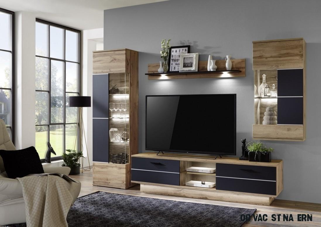 Alberto - Obývací stěna (dub wotan/dub wotan,černá)  Jena nábytek