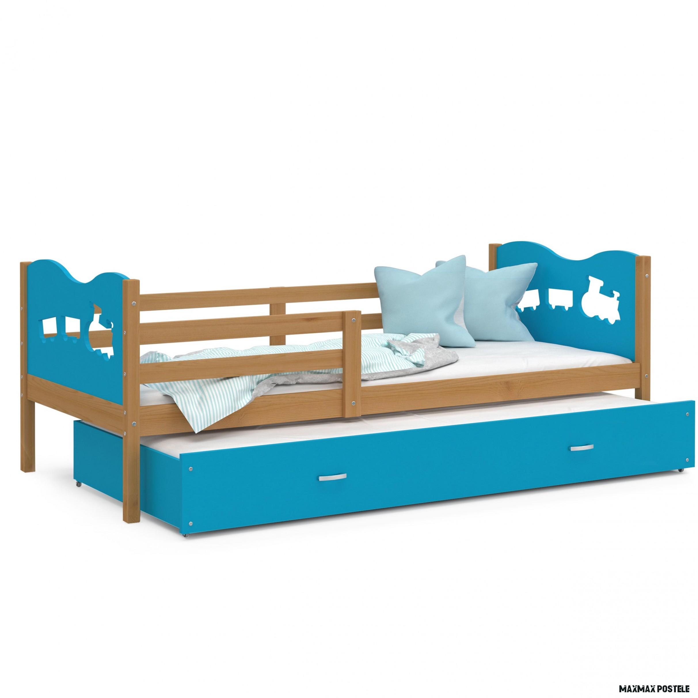 Dětská postel s přistýlkou MAX W - 18x18 cm - modrá/olše - vláček