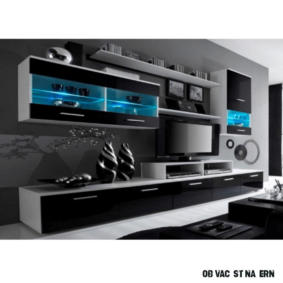 Obývací stěna s LED osvětlením Fregadero, černá