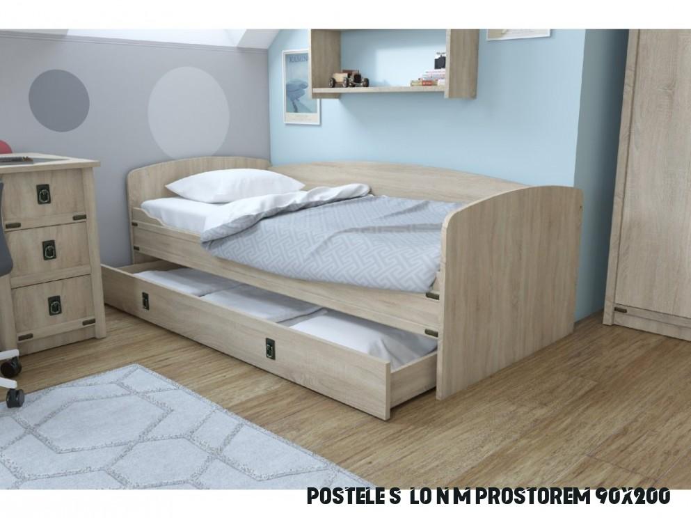 Dětská postel 11x11 s úložným prostorem TORRO, sonoma