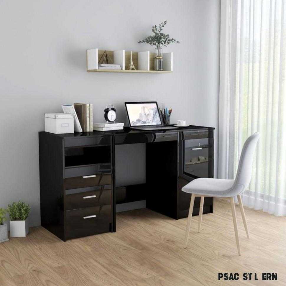 shumee Psací stůl černý s vysokým leskem 17 x 17 x 17 cm