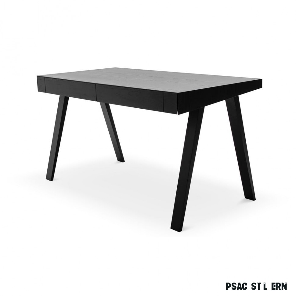 Černý psací stůl s nohami z jasanového dřeva EMKO 17.17, 1117 x 17 cm