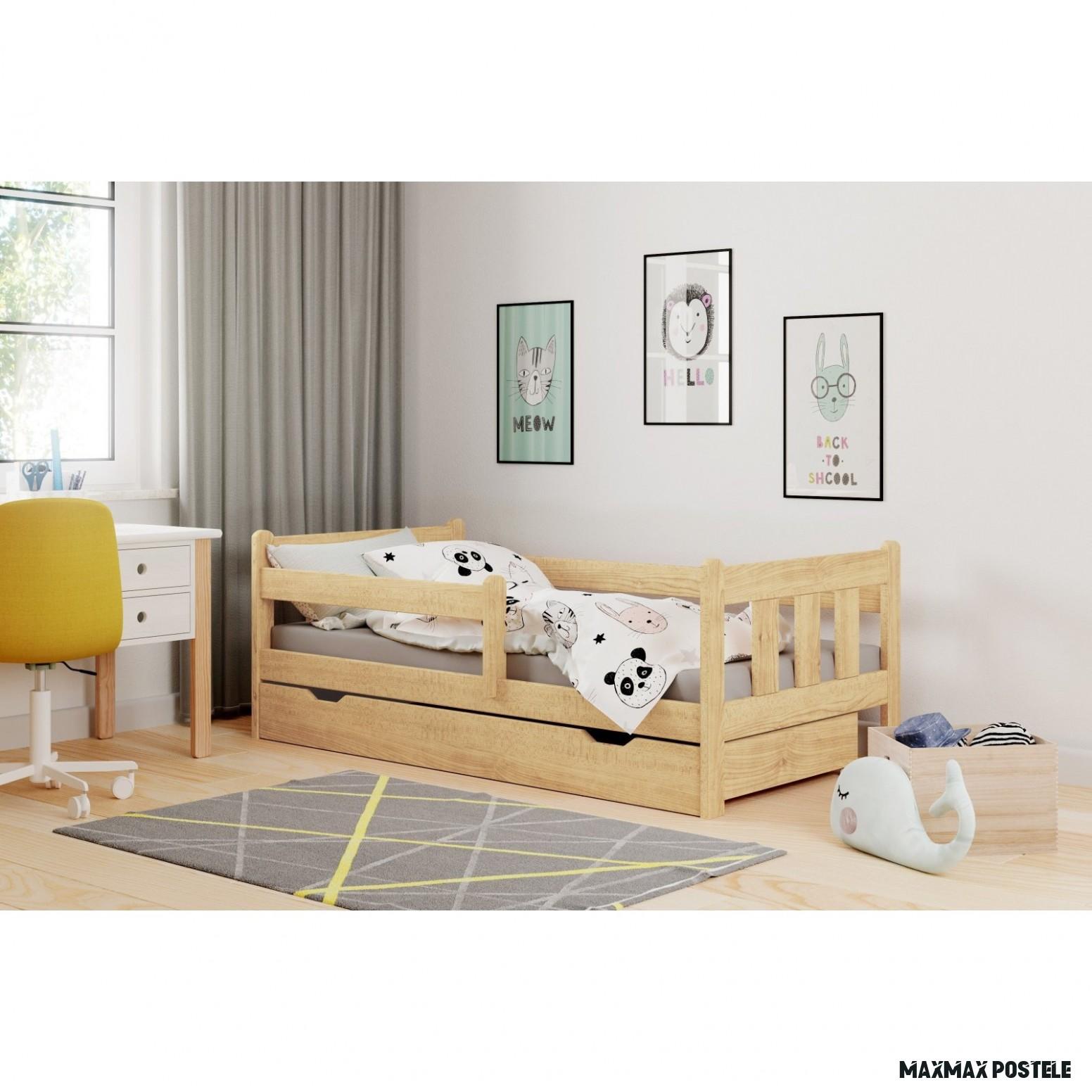 Dětská postel z masivu se šuplíky MARIE 18x18 cm - přírodní