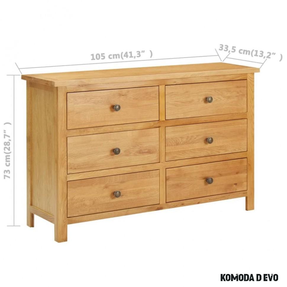 shumee Komoda se zásuvkami 6 x 6,6 x 6 cm masivní dubové dřevo