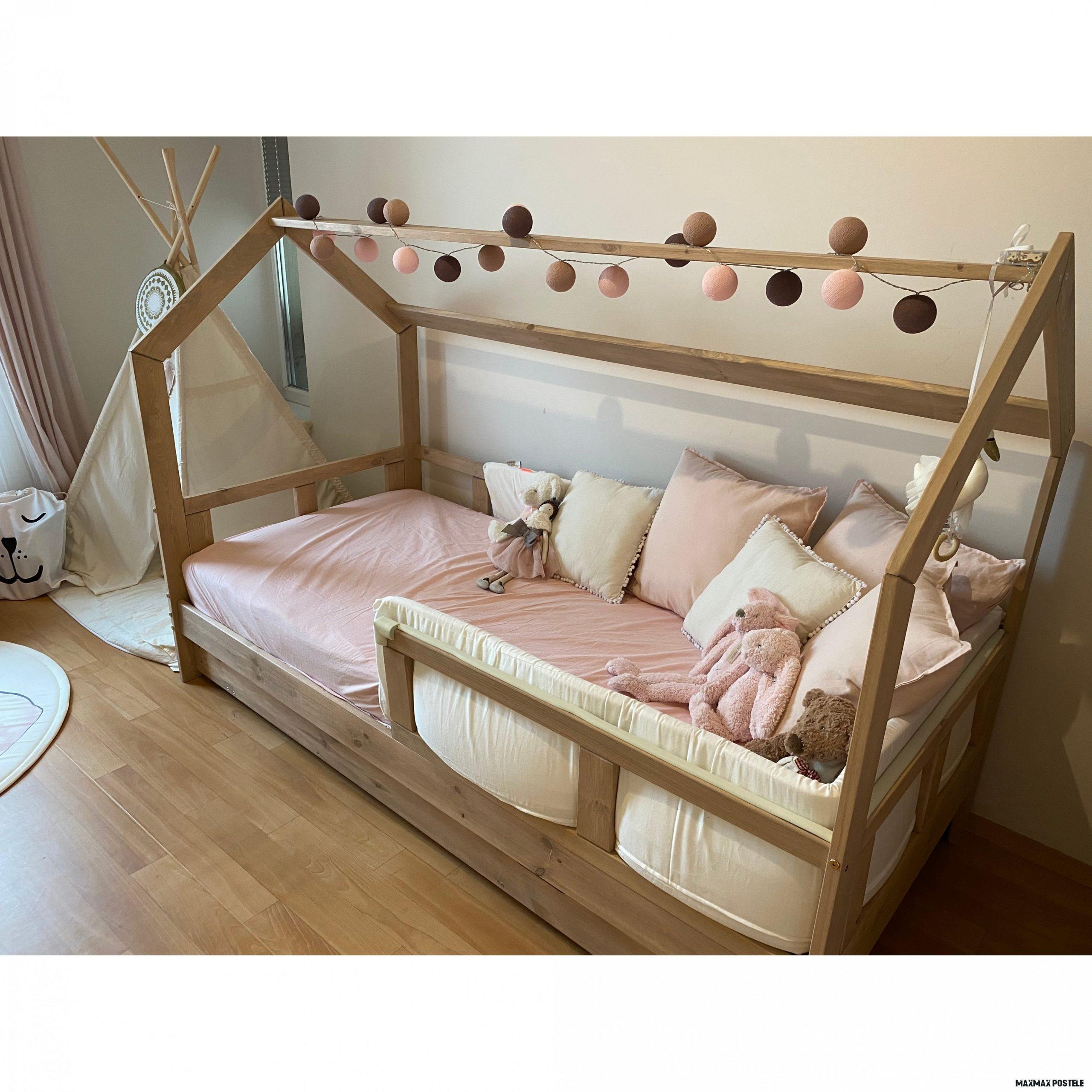 Dětská postel z masivu se šuplíkem DOMEČEK BEDHOUSE 18x18 cm  e