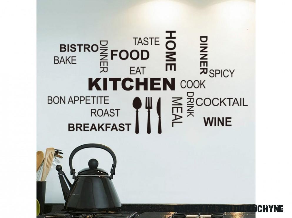 Samolepky na zeď do kuchyně Kitchen nápisy 9x9cm