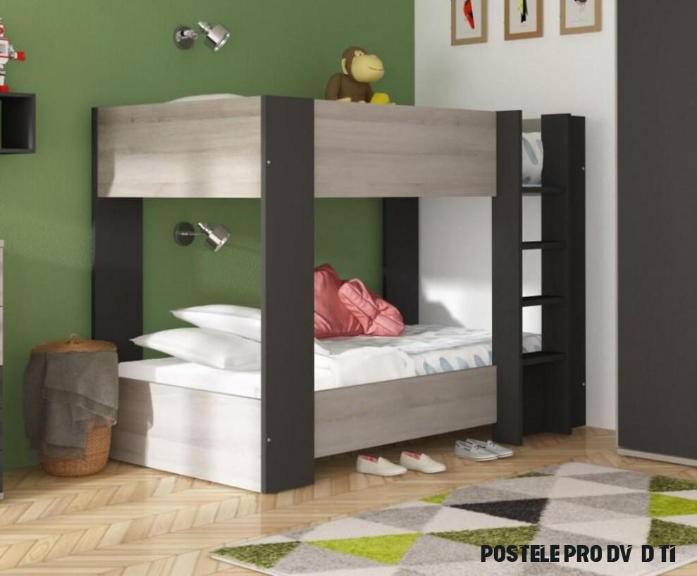 Aldo Patrová postel pro dvě děti Bo19 - dub molina, graphit