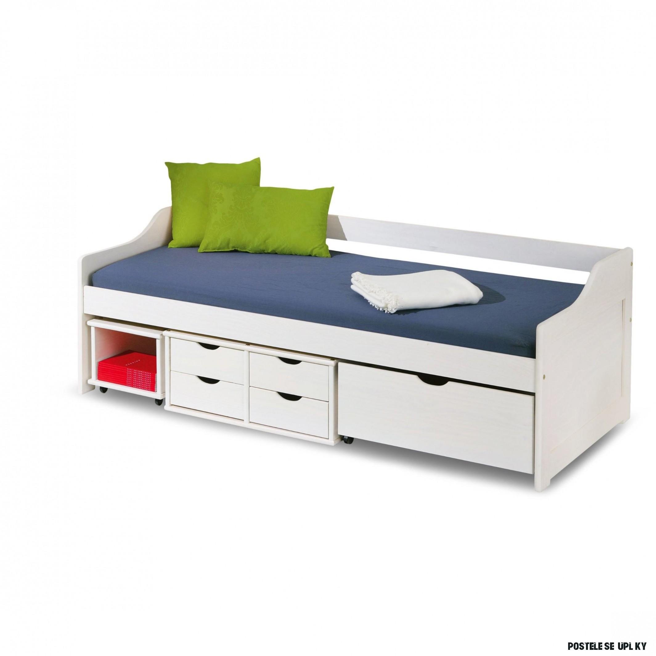 Dětská postel z masivu se šuplíky 8x8cm FLÓRA