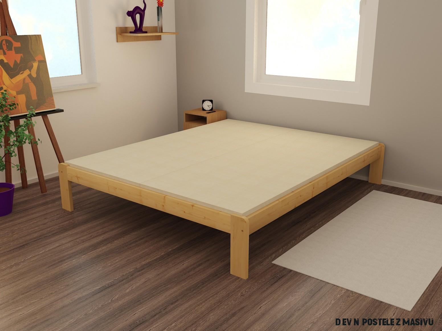 Dřevěná postel VMK 15A 15x15 borovice masiv přírodní lakovaná  Dřevěné  postele z masivu  Masiv-drevene-postele.cz