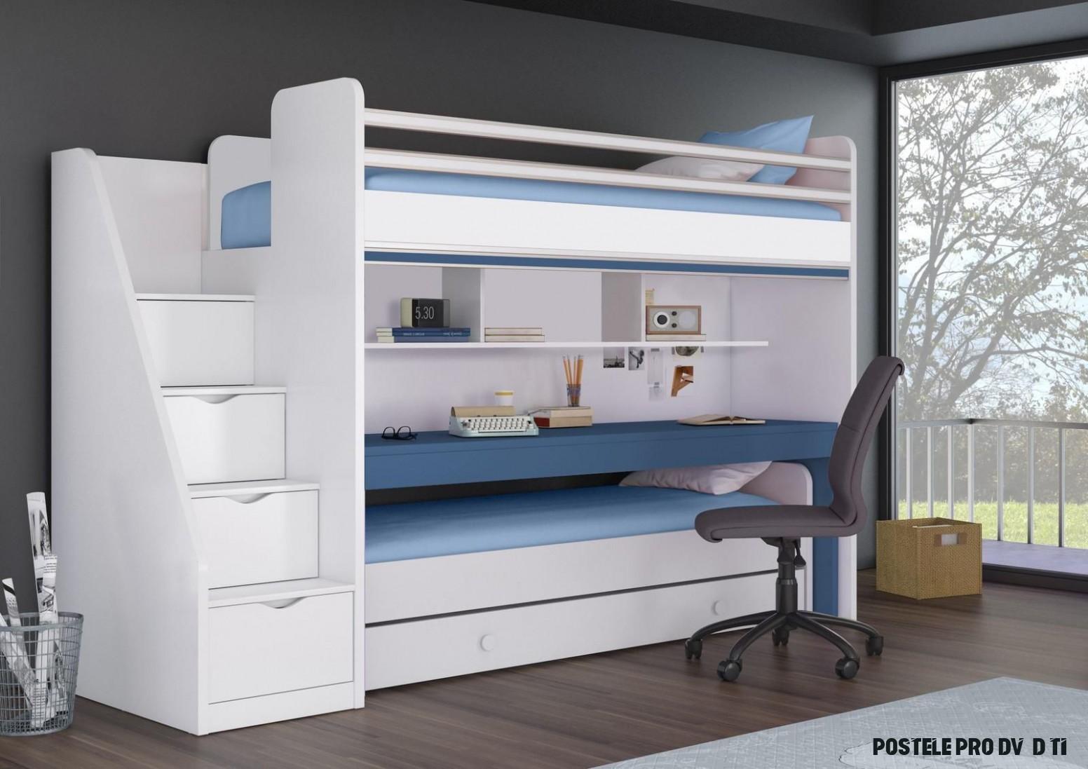 Patrová postel pro dvě děti Oxford - Blue - Patrová postel - pouze