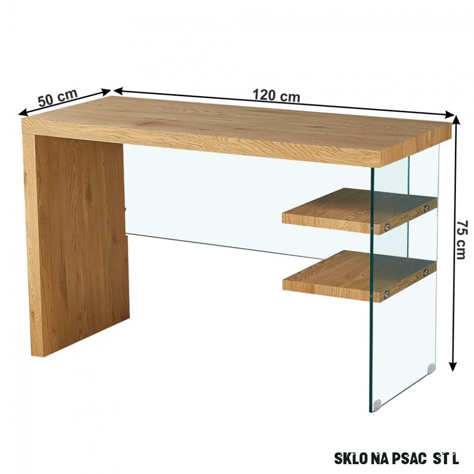 Konzolový psací stůl ENRIK MDF fólie dub, sklo, VÝPRODEJ
