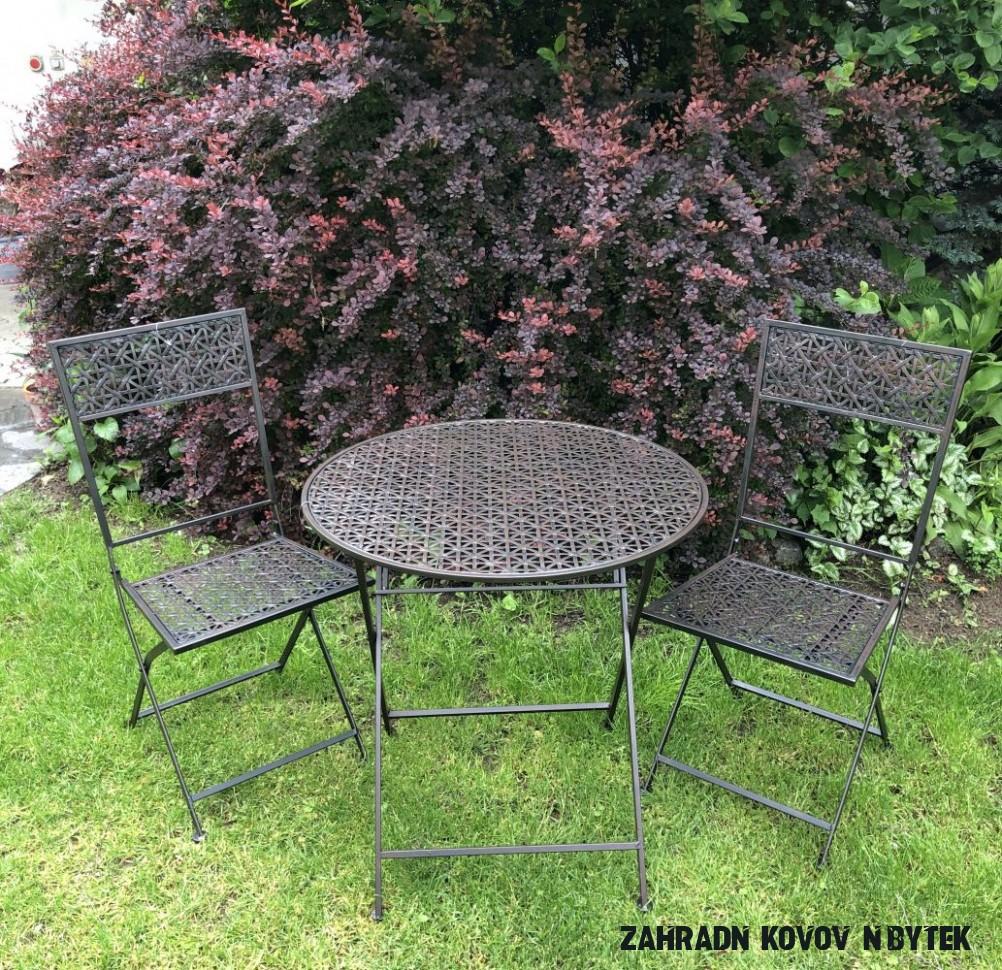 Kovový zahradní nábytek černohnědý Scharlotte