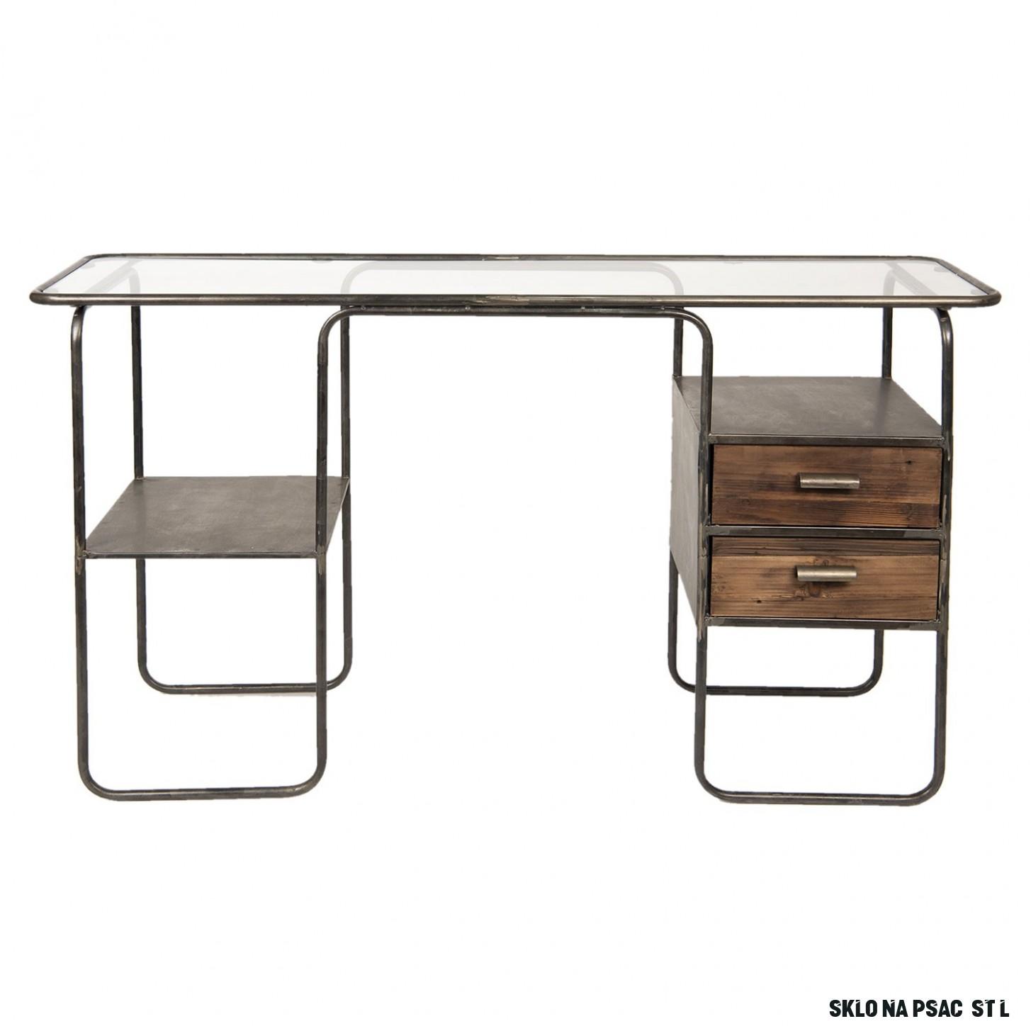 Retro psací stůl se skleněnou deskou Antik - 13*13*13 cm - LaHome.cz