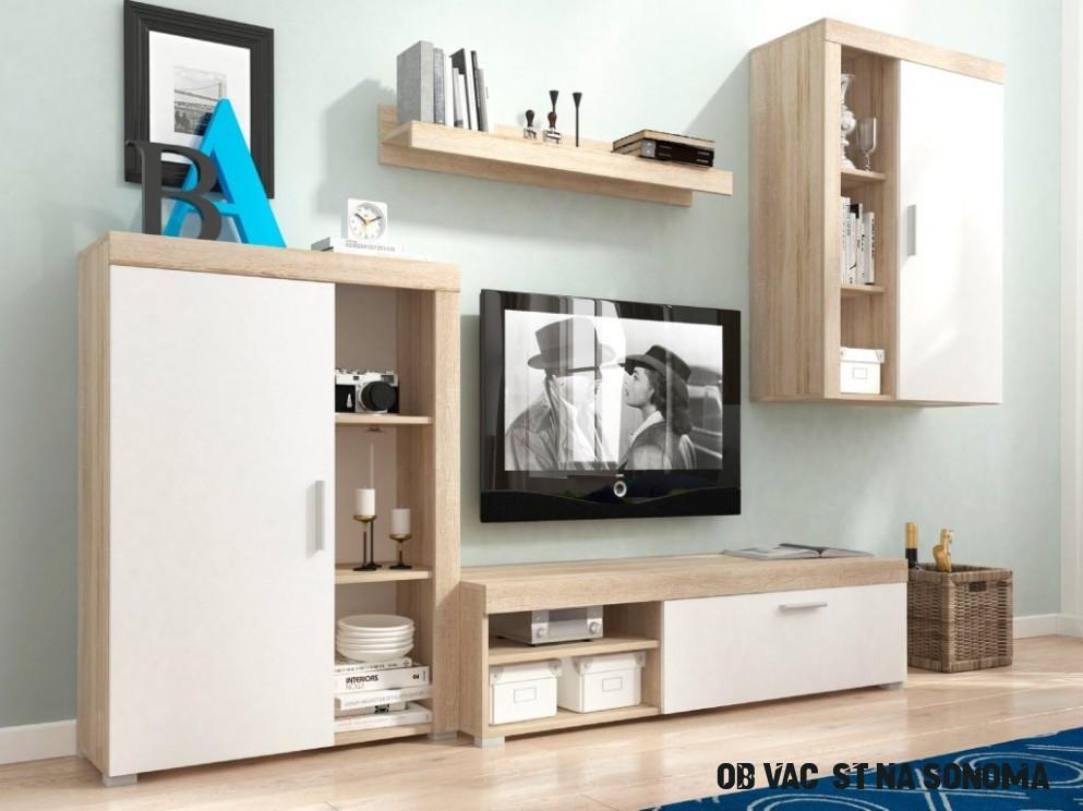 Obývací stěna - OLI, dub sonoma/bílá