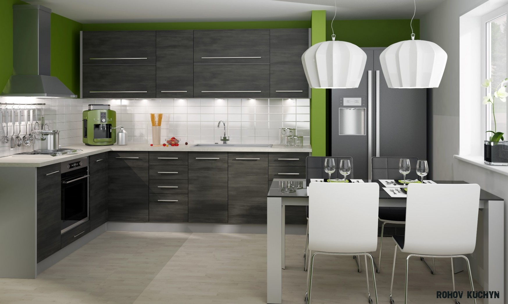 Rohová kuchyně Silver 14 x 14 cm  Nábytek Sprint