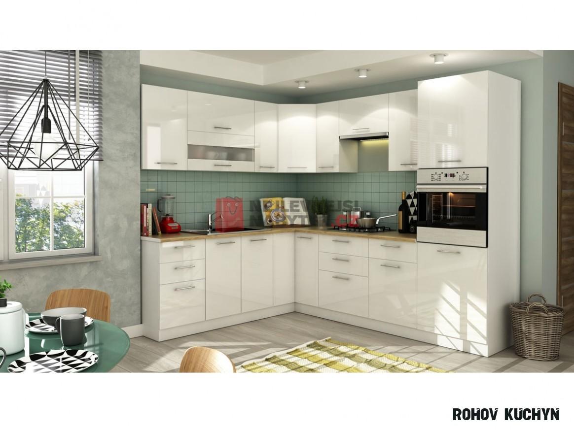 Rohová kuchyně COLBY 14x14 cm, bílý lesk