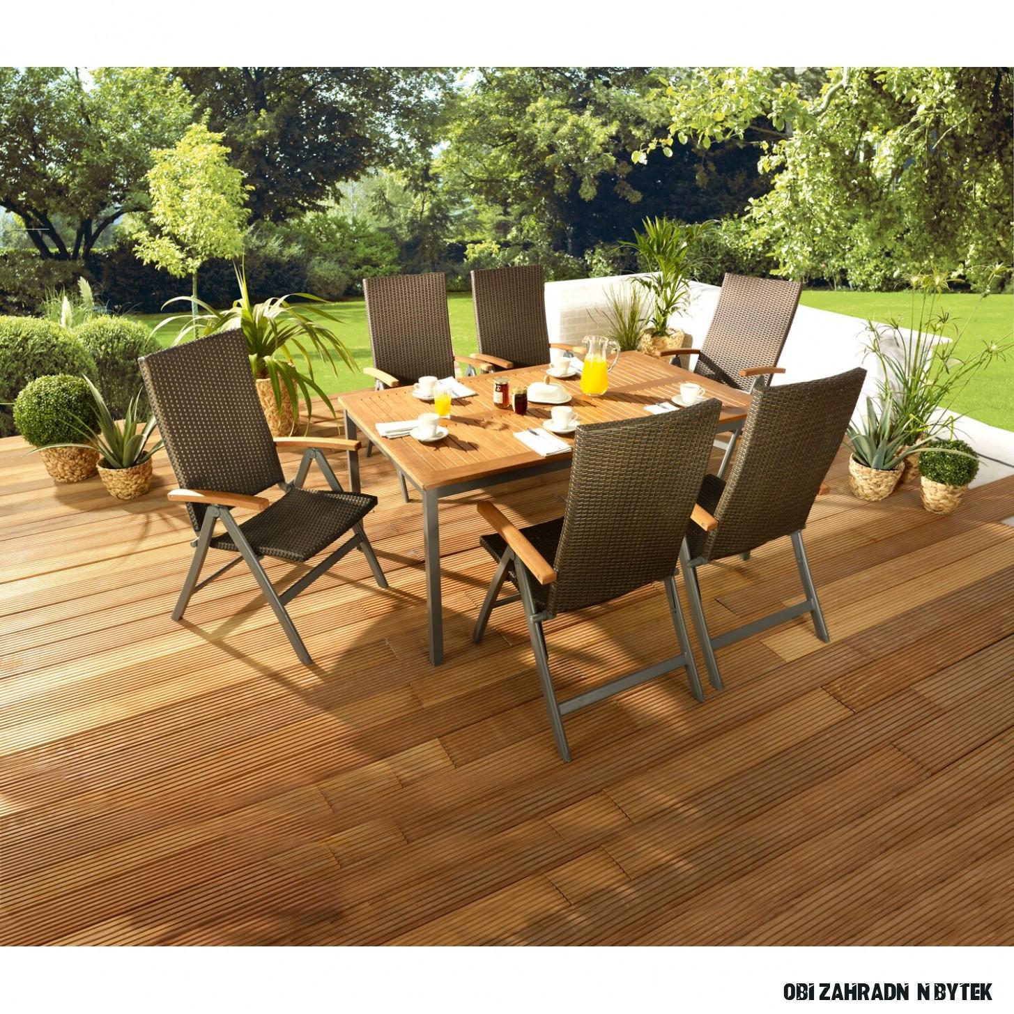 OBI Dřevěný zahradní stůl Harris 11/11 cm x 11 cm rozkládací antracitový