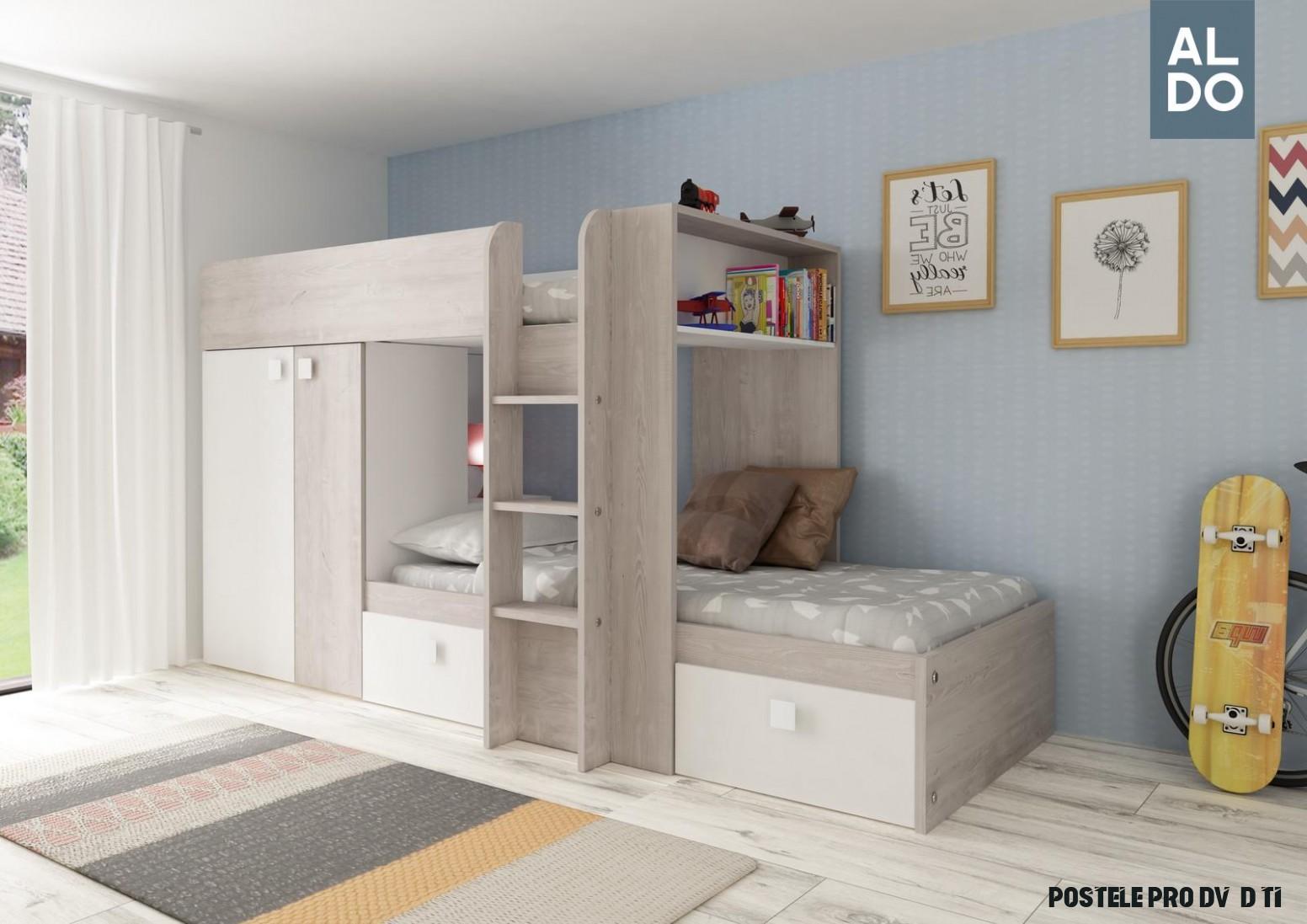 Patrová postel pro dvě děti Bo19 - bílá
