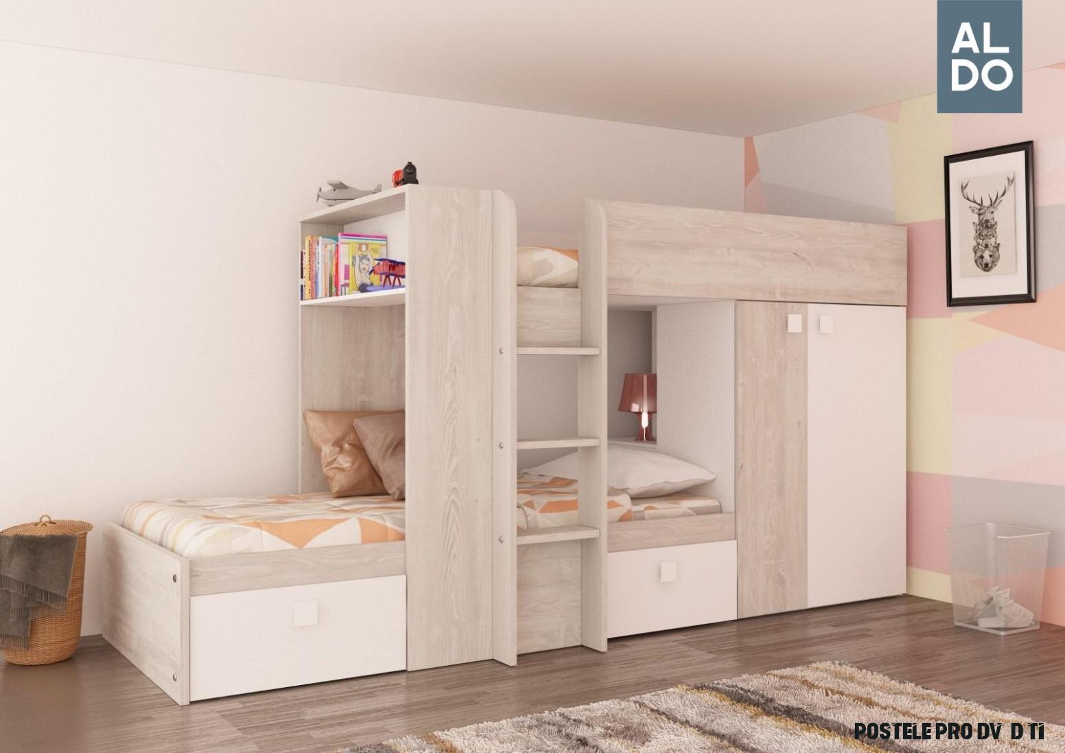 Patrová postel pro dvě děti Bo19 19x19 - bílá