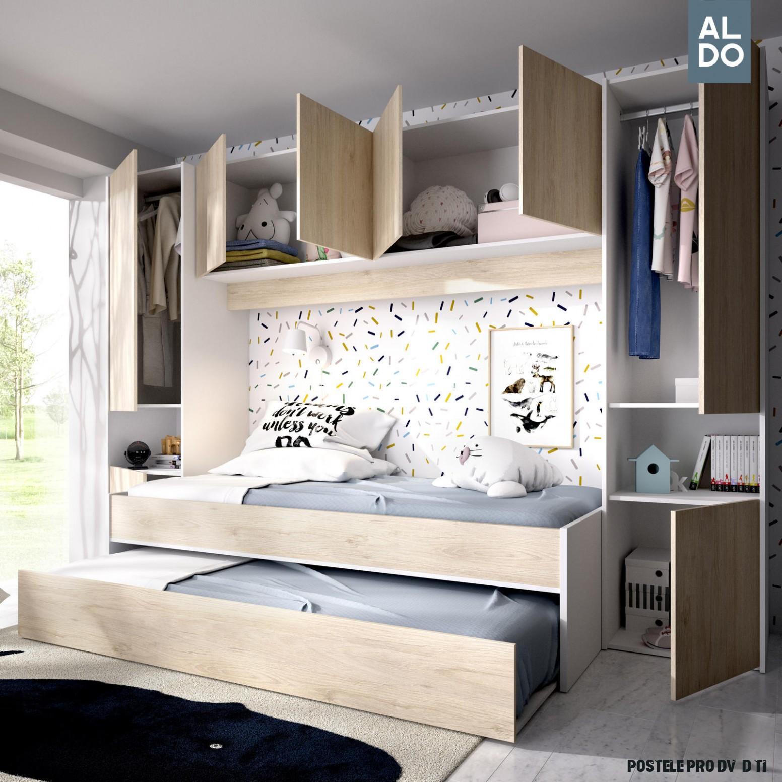 Designový dětský pokoj, dětské postele s nadstavcem pro dvě děti Kwai