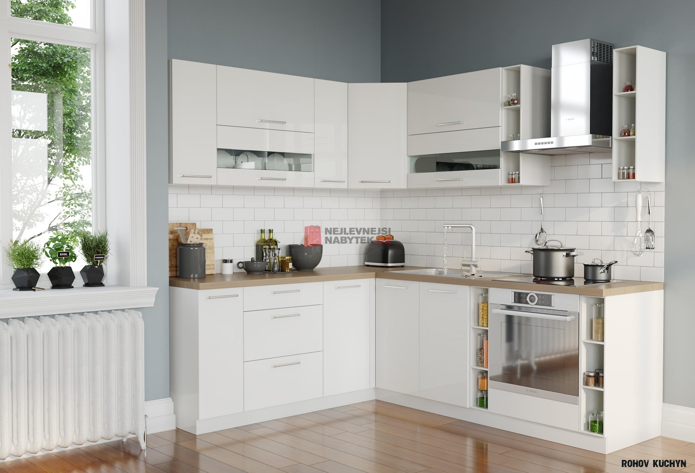 Rohová kuchyně COLBY 14x14, bílý lesk