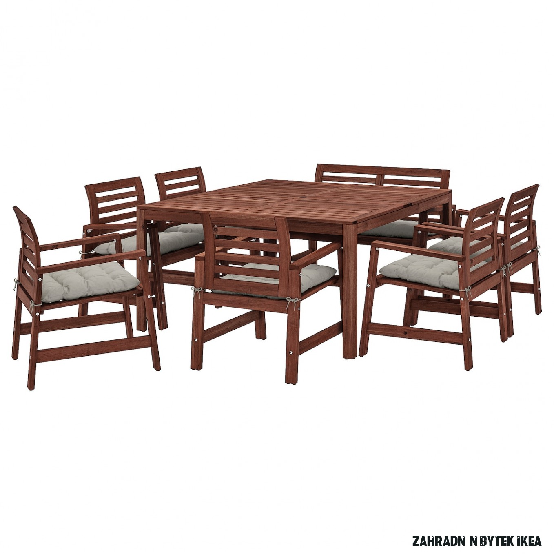 ÄPPLARÖ Stůl+14 židlí s podr.+lavice, venk. - hnědé mořidlo/Kuddarna šedá
