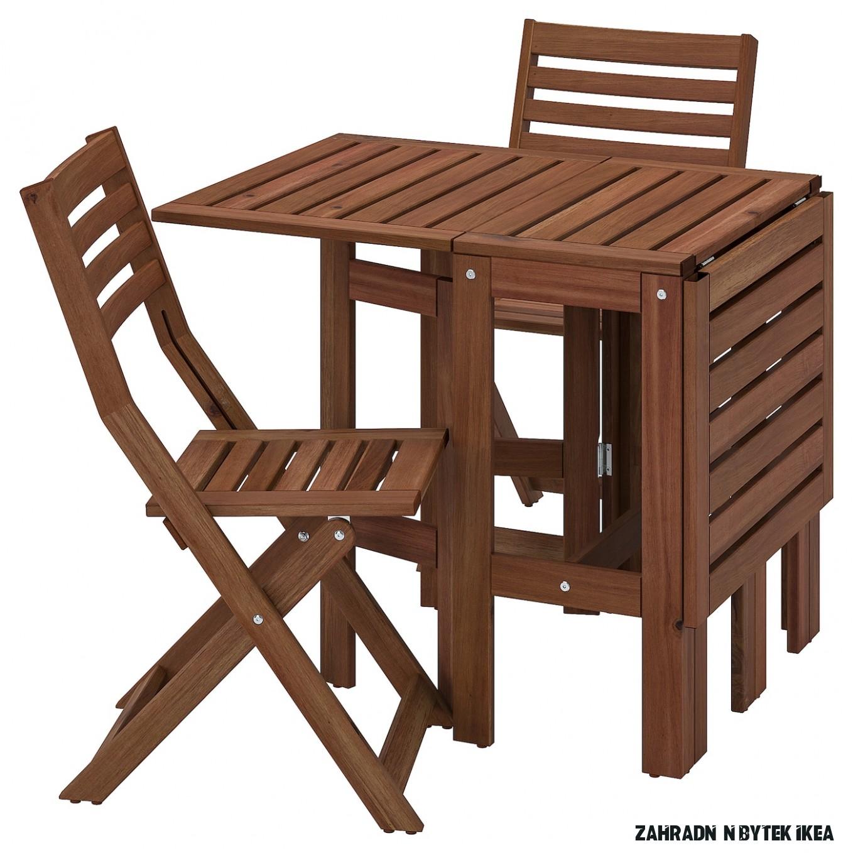 ÄPPLARÖ Stůl+14 skládací židle, venk. - hnědé mořidlo