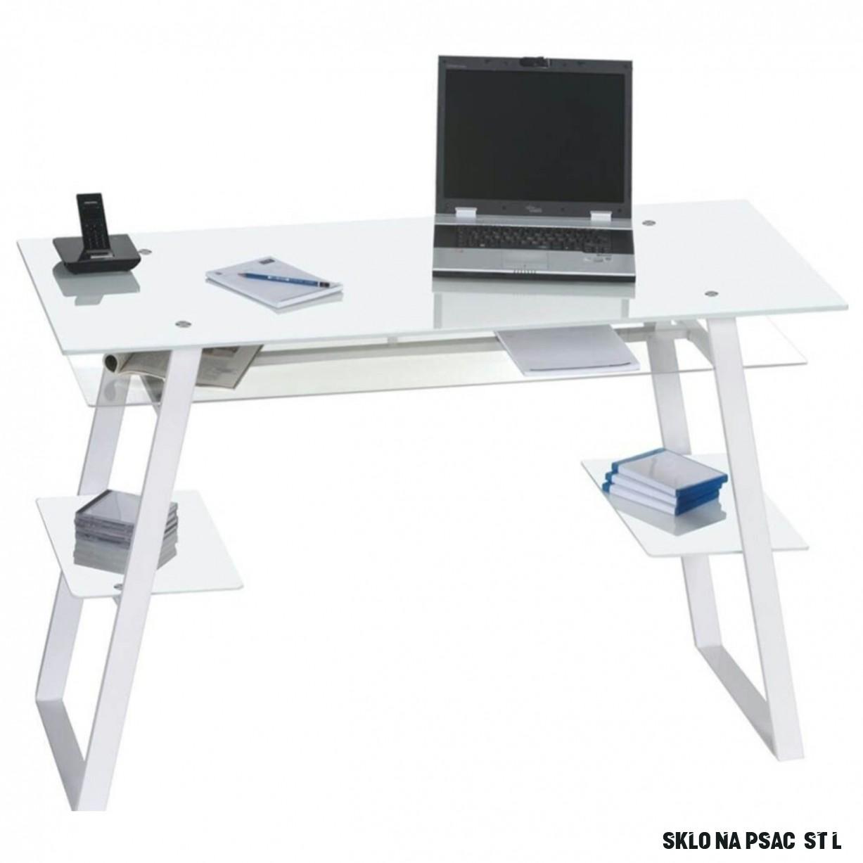 Psací stůl 13 bílá/sklo  Sconto