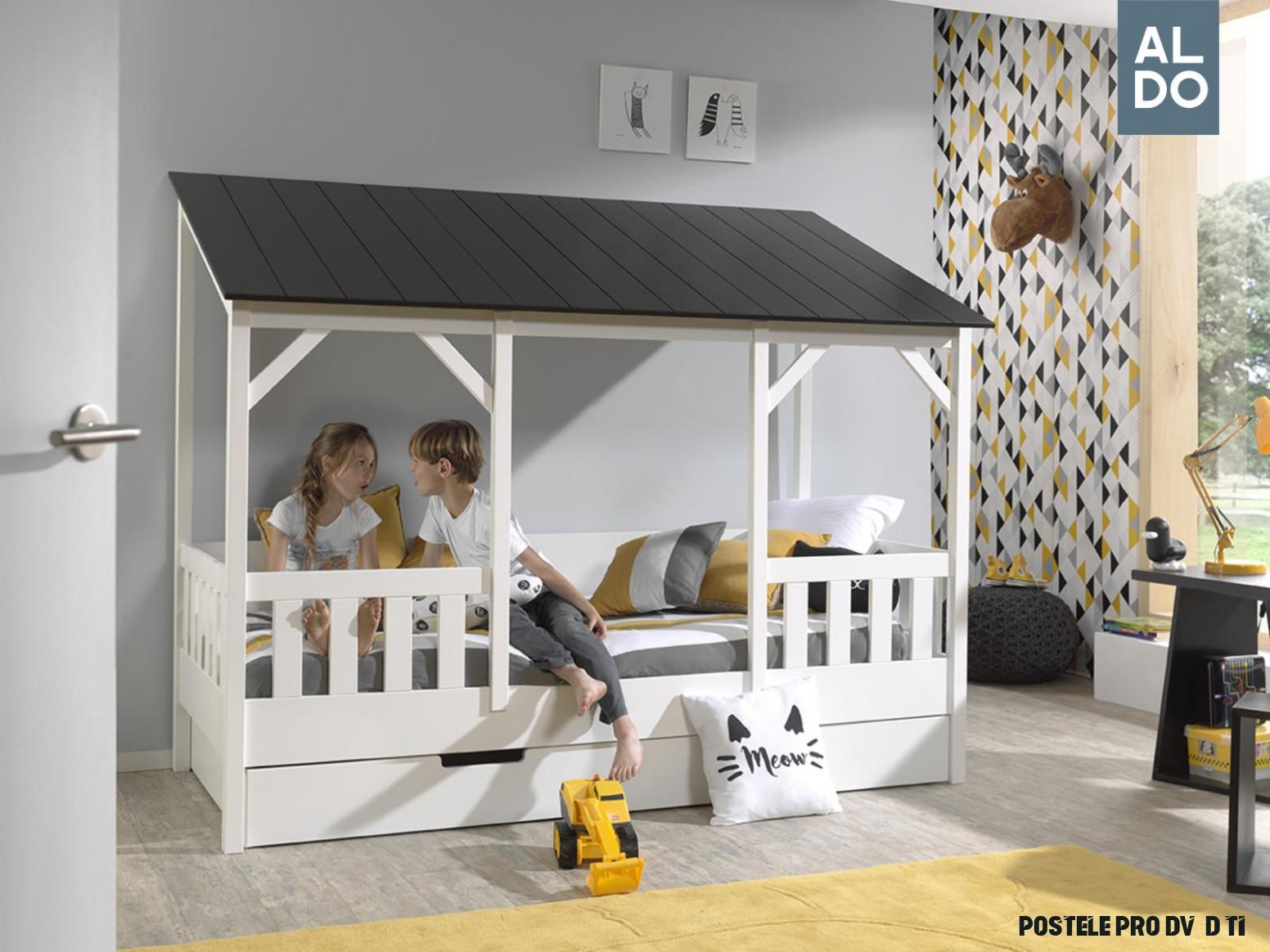 Dětská postel ve tvaru domečku pro dvě děti House - dark