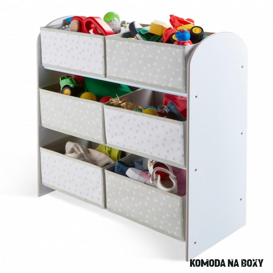 Organizér na hračky s šedými a bílými boxy