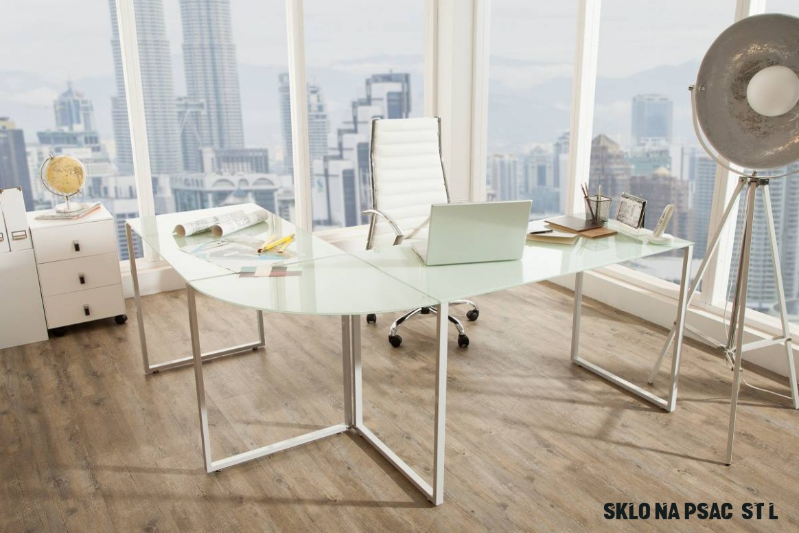 Rohový psací stůl Atelier sklo / bílý