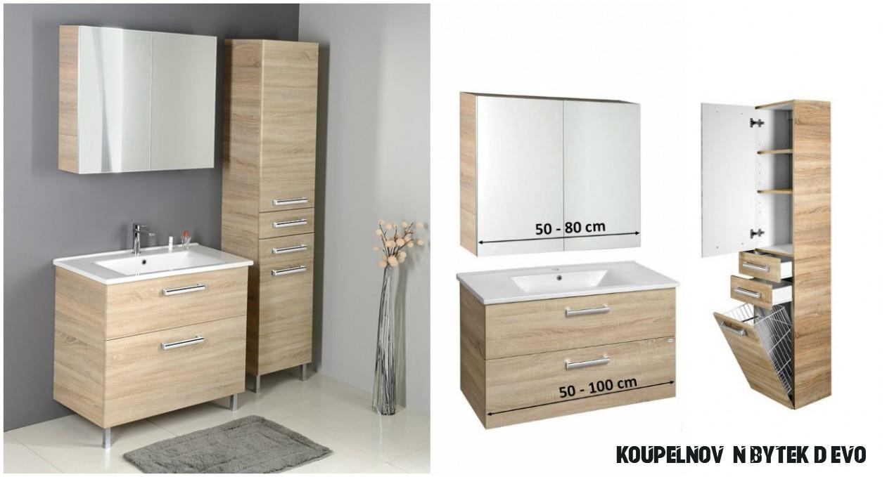 Koupelnový nábytek dub platin + umyvadlo