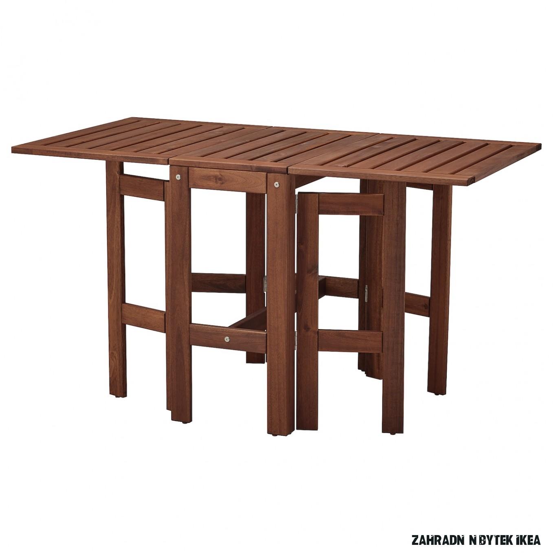 ÄPPLARÖ Stůl se sklopnými deskami, venkovní - hnědé mořidlo 14/14/14x14 cm