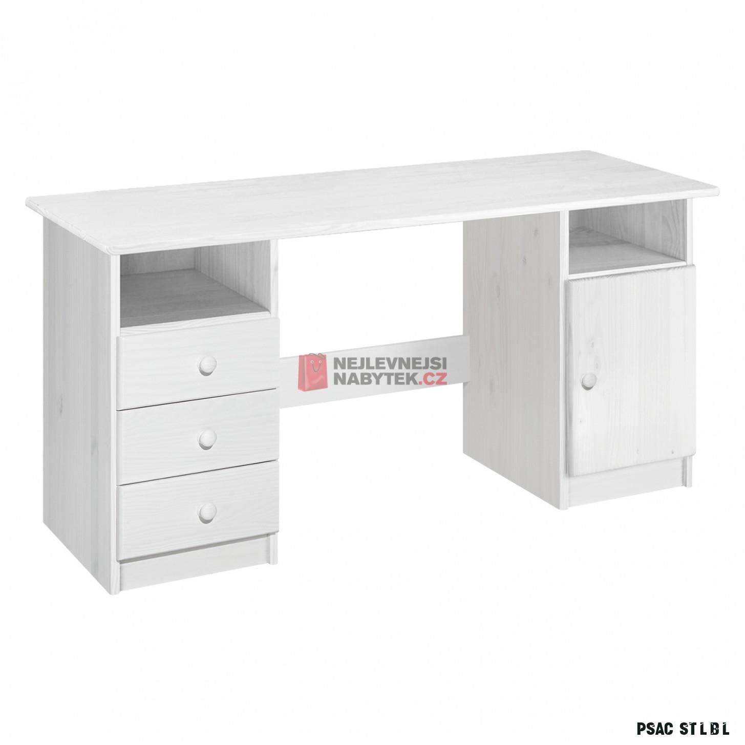 Dřevěný psací stůl TRINITY typ 11, bílý lak