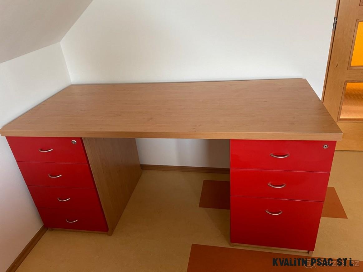 Velký kvalitní psací stůl, šuplíky s měkkým dojezdem - Brno venkov
