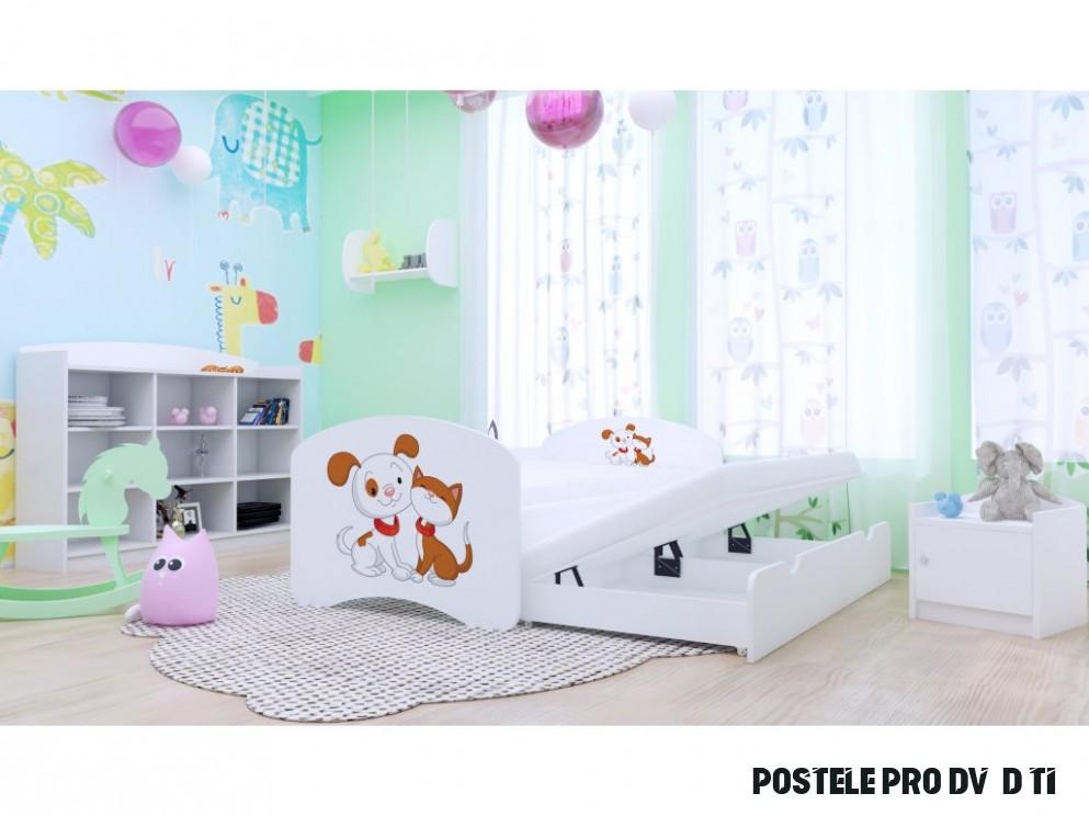 Dětská postel Kevin pro dvě děti 19 x 19 cm - pejsek a kočička + matrace  zdarma BÍLÁ