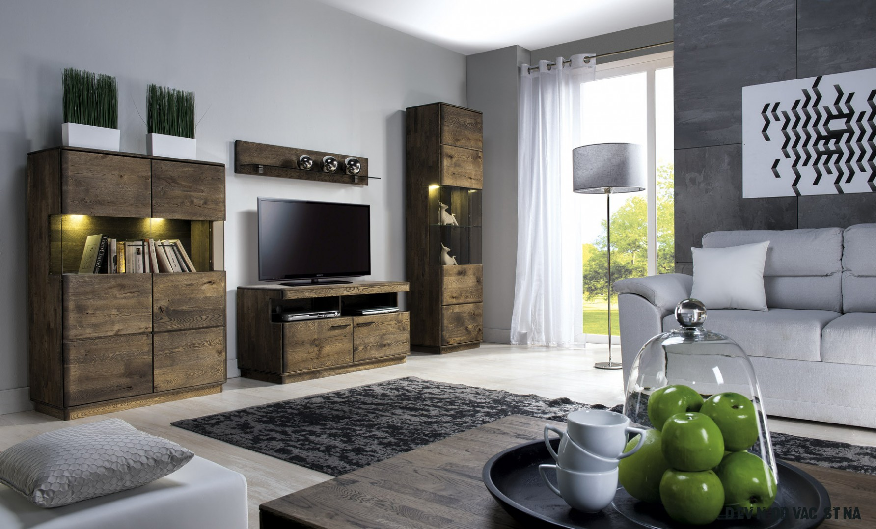 Dřevěná obývací stěna - dub masiv, Dallas - Nábytek Mirek