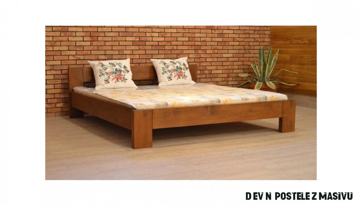 Dřevěná postel manželská, 15,15, 15 x 15 cm barva ořech, L15 - Nábytek  Mirek