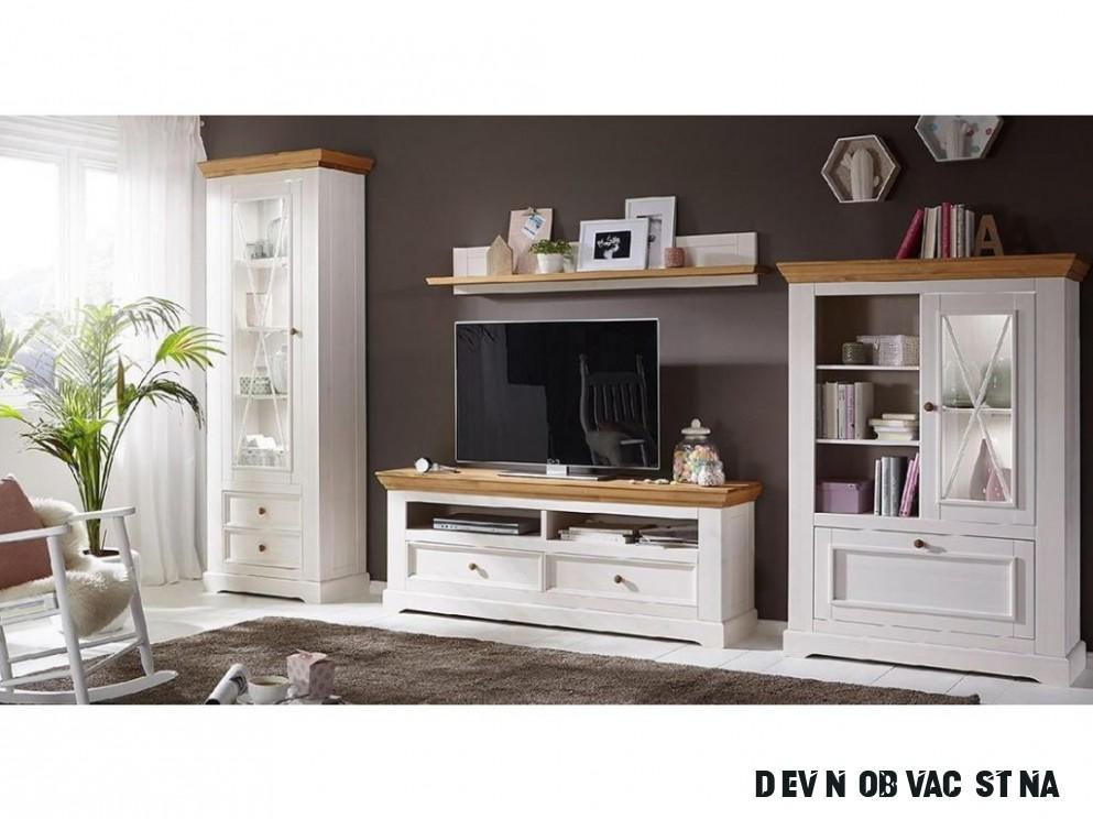 Obývací stěna TV Marone, dekor bílá-dřevo, masiv, borovice