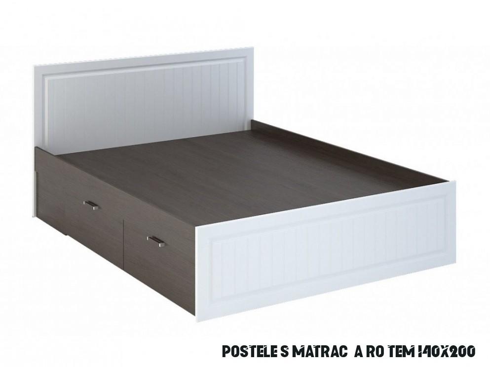 Manželská postel 6x6 cm s bílými čely a korpusem wenge s roštem a  úložným prostorem typ KP 6 KN6