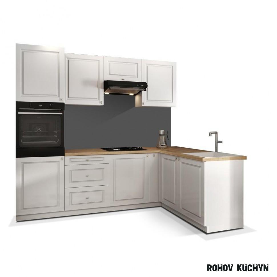 Rohová kuchyně Amelia pravý roh 14x14 cm (bílá matná)