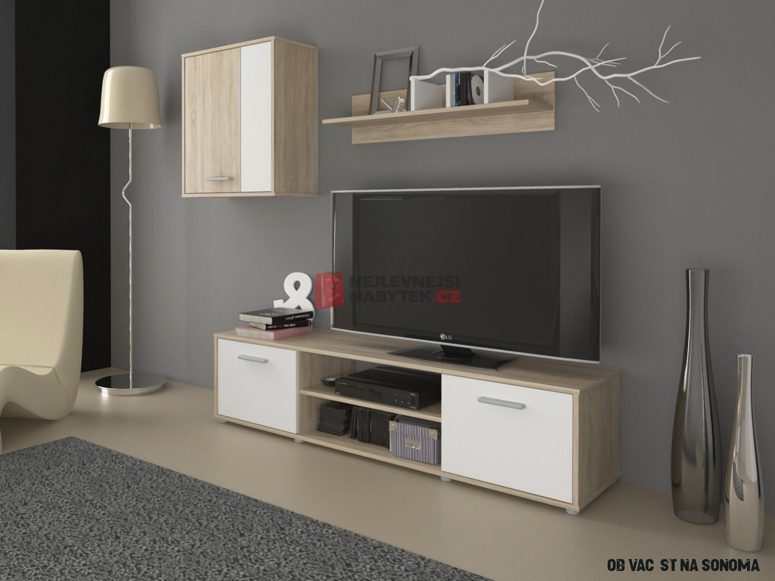 Obývací stěna LAWSON 6, dub sonoma/bílá